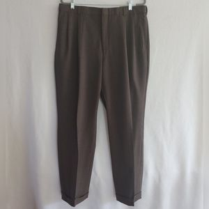 Lands End Brown 100% Wool Traditional Fit Pants